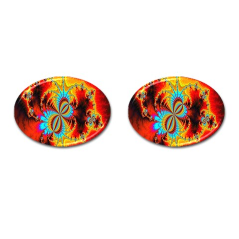 Crazy Mandelbrot Fractal Red Yellow Turquoise Cufflinks (Oval)