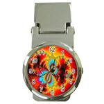 Crazy Mandelbrot Fractal Red Yellow Turquoise Money Clip Watches Front