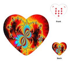 Crazy Mandelbrot Fractal Red Yellow Turquoise Playing Cards (heart)