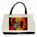 Crazy Mandelbrot Fractal Red Yellow Turquoise Basic Tote Bag Front