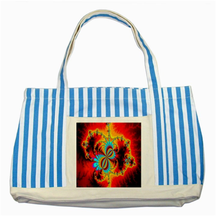 Crazy Mandelbrot Fractal Red Yellow Turquoise Striped Blue Tote Bag