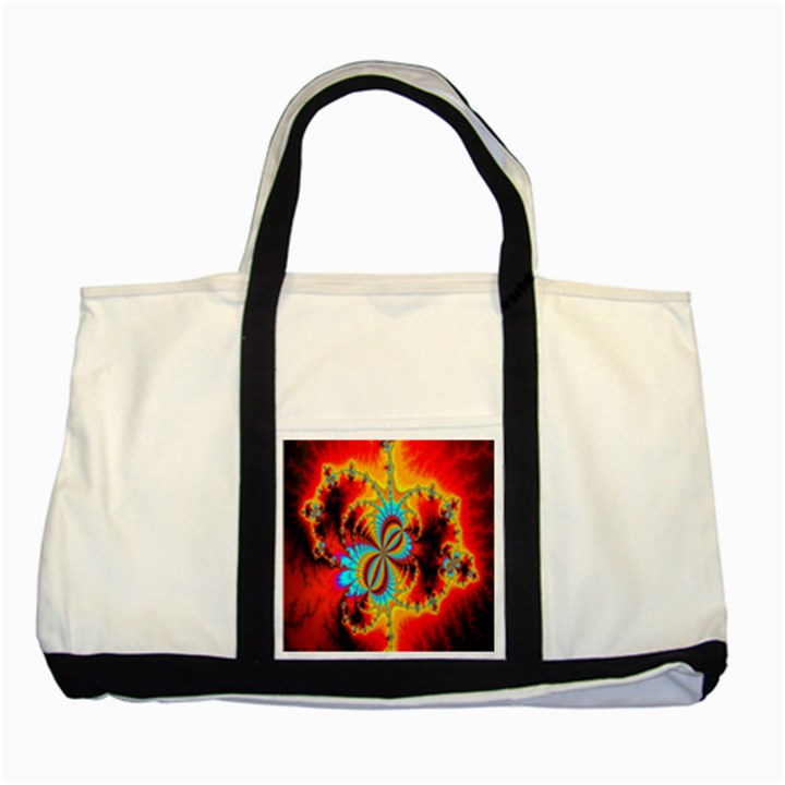 Crazy Mandelbrot Fractal Red Yellow Turquoise Two Tone Tote Bag