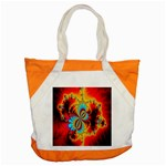 Crazy Mandelbrot Fractal Red Yellow Turquoise Accent Tote Bag Front