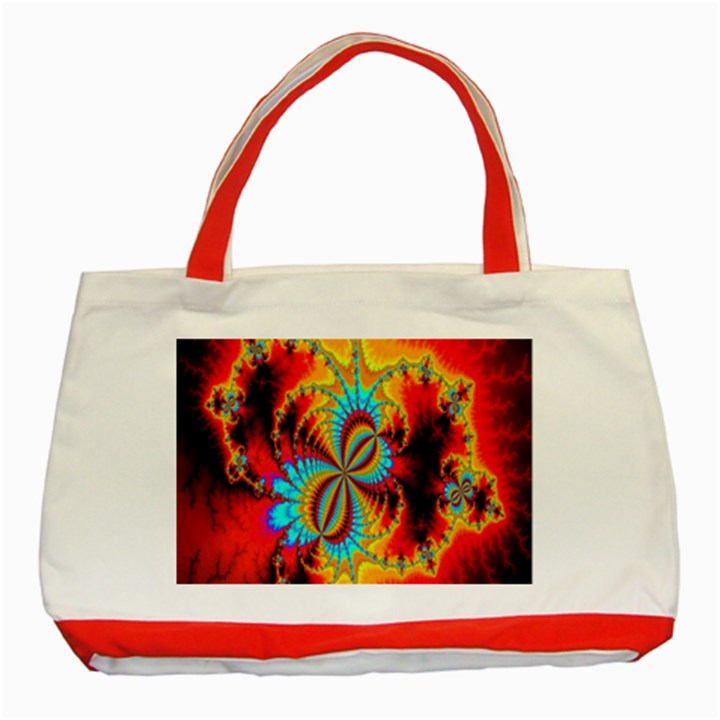 Crazy Mandelbrot Fractal Red Yellow Turquoise Classic Tote Bag (Red)