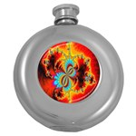 Crazy Mandelbrot Fractal Red Yellow Turquoise Round Hip Flask (5 oz) Front