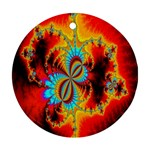 Crazy Mandelbrot Fractal Red Yellow Turquoise Round Ornament (Two Sides)  Back