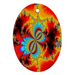 Crazy Mandelbrot Fractal Red Yellow Turquoise Oval Ornament (two Sides)