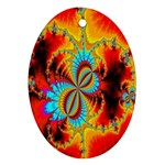 Crazy Mandelbrot Fractal Red Yellow Turquoise Oval Ornament (Two Sides) Front