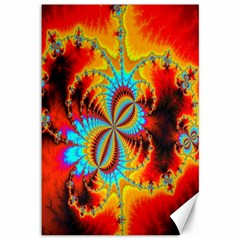 Crazy Mandelbrot Fractal Red Yellow Turquoise Canvas 12  X 18