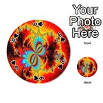 Crazy Mandelbrot Fractal Red Yellow Turquoise Playing Cards 54 (Round)  Front - Spade6