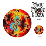 Crazy Mandelbrot Fractal Red Yellow Turquoise Playing Cards 54 (Round)  Front - Spade7