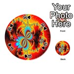 Crazy Mandelbrot Fractal Red Yellow Turquoise Playing Cards 54 (Round)  Front - Spade10