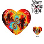 Crazy Mandelbrot Fractal Red Yellow Turquoise Playing Cards 54 (Heart)  Front - Heart9