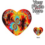 Crazy Mandelbrot Fractal Red Yellow Turquoise Playing Cards 54 (Heart)  Front - Joker1