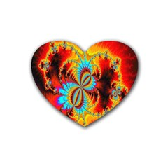 Crazy Mandelbrot Fractal Red Yellow Turquoise Heart Coaster (4 Pack)