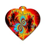 Crazy Mandelbrot Fractal Red Yellow Turquoise Dog Tag Heart (One Side) Front