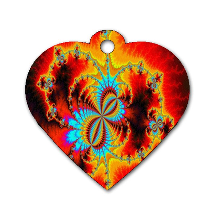 Crazy Mandelbrot Fractal Red Yellow Turquoise Dog Tag Heart (Two Sides)