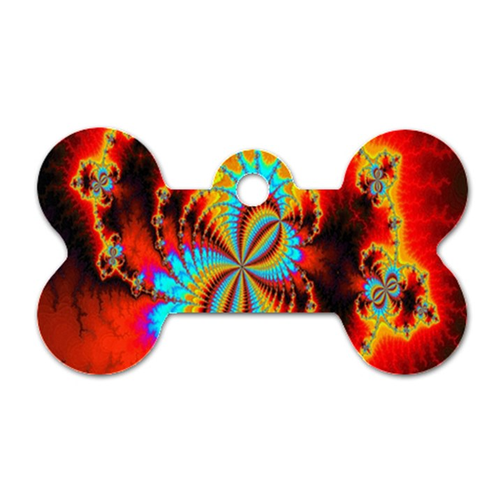 Crazy Mandelbrot Fractal Red Yellow Turquoise Dog Tag Bone (Two Sides)