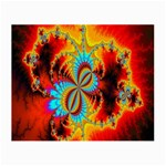 Crazy Mandelbrot Fractal Red Yellow Turquoise Small Glasses Cloth (2-Side) Back