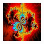 Crazy Mandelbrot Fractal Red Yellow Turquoise Medium Glasses Cloth (2-Side) Back