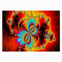 Crazy Mandelbrot Fractal Red Yellow Turquoise Large Glasses Cloth (2 Side)