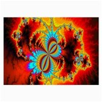 Crazy Mandelbrot Fractal Red Yellow Turquoise Large Glasses Cloth (2-Side) Back
