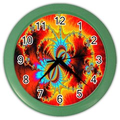 Crazy Mandelbrot Fractal Red Yellow Turquoise Color Wall Clocks