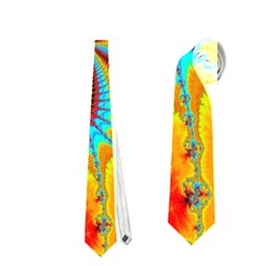 Crazy Mandelbrot Fractal Red Yellow Turquoise Neckties (two Side)