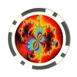 Crazy Mandelbrot Fractal Red Yellow Turquoise Poker Chip Card Guards Front