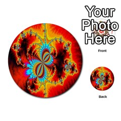 Crazy Mandelbrot Fractal Red Yellow Turquoise Multi-purpose Cards (Round)