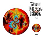 Crazy Mandelbrot Fractal Red Yellow Turquoise Multi-purpose Cards (Round)  Back 48