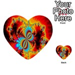 Crazy Mandelbrot Fractal Red Yellow Turquoise Multi-purpose Cards (Heart)  Back 3