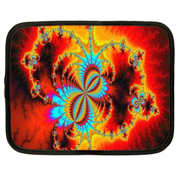 Crazy Mandelbrot Fractal Red Yellow Turquoise Netbook Case (Large)