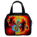 Crazy Mandelbrot Fractal Red Yellow Turquoise Classic Handbags (2 Sides) Front