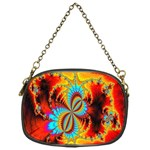 Crazy Mandelbrot Fractal Red Yellow Turquoise Chain Purses (One Side)  Front