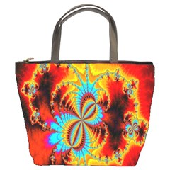 Crazy Mandelbrot Fractal Red Yellow Turquoise Bucket Bags