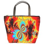 Crazy Mandelbrot Fractal Red Yellow Turquoise Bucket Bags Front