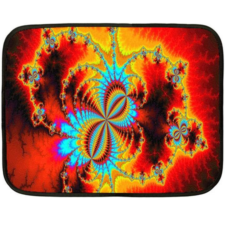 Crazy Mandelbrot Fractal Red Yellow Turquoise Fleece Blanket (Mini)