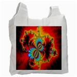 Crazy Mandelbrot Fractal Red Yellow Turquoise Recycle Bag (One Side) Front