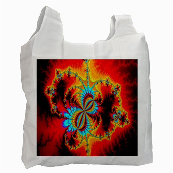 Crazy Mandelbrot Fractal Red Yellow Turquoise Recycle Bag (One Side)