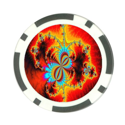 Crazy Mandelbrot Fractal Red Yellow Turquoise Poker Chip Card Guards (10 pack)