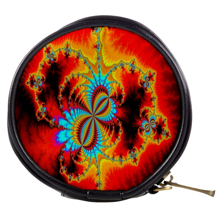 Crazy Mandelbrot Fractal Red Yellow Turquoise Mini Makeup Bags