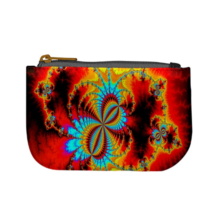 Crazy Mandelbrot Fractal Red Yellow Turquoise Mini Coin Purses