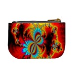 Crazy Mandelbrot Fractal Red Yellow Turquoise Mini Coin Purses Back