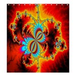 Crazy Mandelbrot Fractal Red Yellow Turquoise Shower Curtain 66  x 72  (Large)  66 x72 Curtain