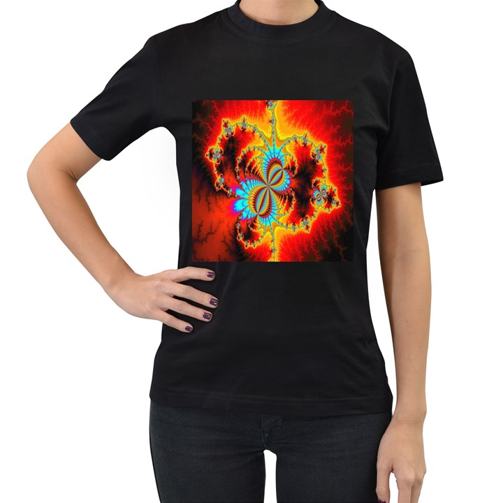 Crazy Mandelbrot Fractal Red Yellow Turquoise Women s T-Shirt (Black)