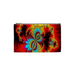 Crazy Mandelbrot Fractal Red Yellow Turquoise Cosmetic Bag (small)