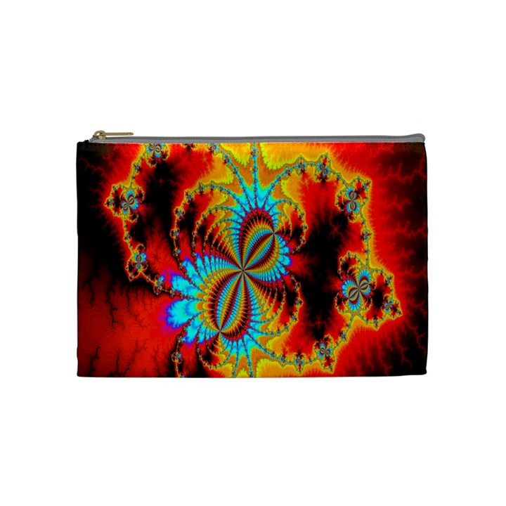 Crazy Mandelbrot Fractal Red Yellow Turquoise Cosmetic Bag (Medium)