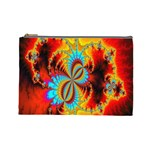 Crazy Mandelbrot Fractal Red Yellow Turquoise Cosmetic Bag (Large)  Front