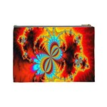 Crazy Mandelbrot Fractal Red Yellow Turquoise Cosmetic Bag (Large)  Back